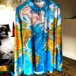 Other - Men's XL cool funny novelty map dress shirt